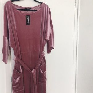 Pink Velour kimono dress